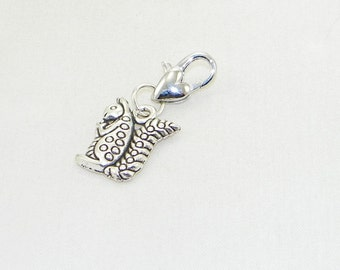 Tibetan silver squirrel lobster claw charm for link bracelets and necklaces, Clip on charm, Purse charm, Backpack charm, Zipper charm, Gift