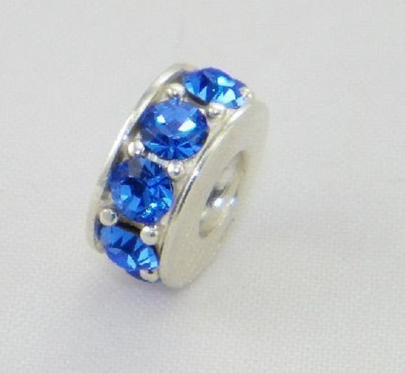 Sterling silver with sapphire blue czs spacer bead for pandora/biagi/troll/chamilia style bracelet