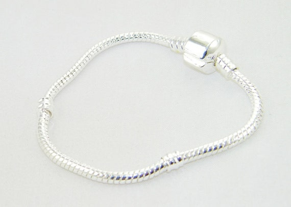 Silver plate bracelet for European charm beads - Size 8.75""