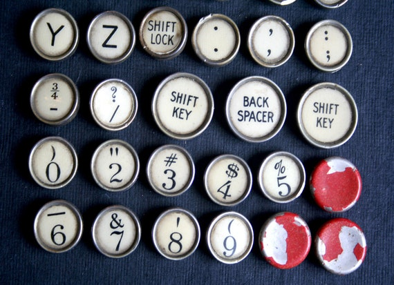 47 Vintage REAL TYPEWRITER Keys Full Set Flat Backs White Black Red JEWELRY Altered Art  Mixed Media Remmington