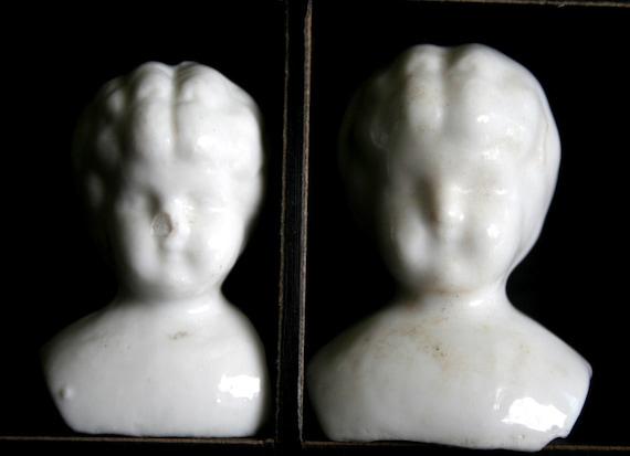 2 Vintage German Bisque Little Girls ADORABLE Dug Up Frozen Charlotte GLAZED Doll Heads Partial SHOULDER q2