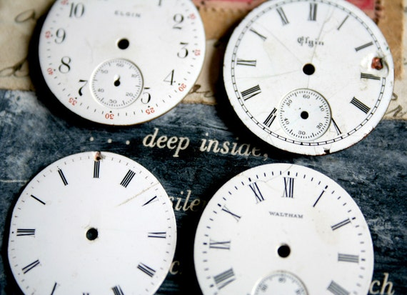 4 Vintage WATCH FACES Jewelry CERAMIC Metal Altered Art Mixed Media Steampunk 58a