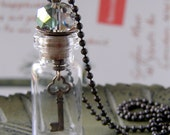 Glass Vial Necklace with Sparkly Glass Bead and Dangling Key Charm