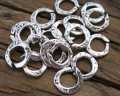 6 Hammered Sterling Silver OPEN Jump Rings, 8.5mm -Set of 6