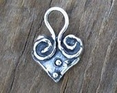 1 Handcrafted Sterling Silver WHIMSY Heart Charm -16.5mm