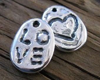 1 Rustic Sterling Silver LOVE Pebble Charm,18mm -1 pc