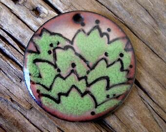 Handmade Enamel Hillside Pendant with Green Foliage -32mm