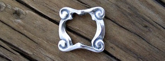1 Sterling Silver Art Deco Bead Frame, Double Sided 14mm -1 pc