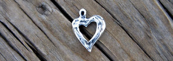 Artisan Sterling Silver Small Open Heart Charm -14mm