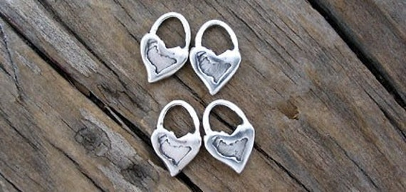 4 Handcrafted TINY Plain HEART Sterling Silver Charms -Set of 4