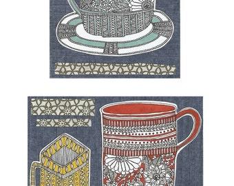 three cups archival print