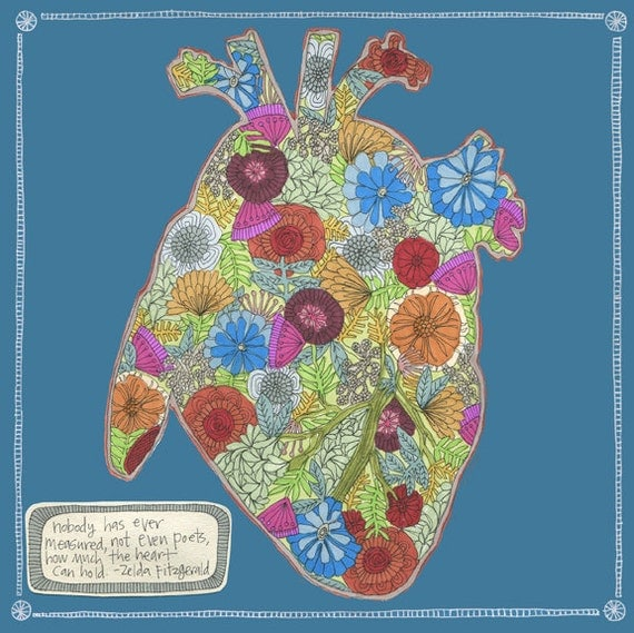 my heart is full of flowers archival print