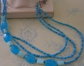 Blue Quartz and Blue Opal Necklace