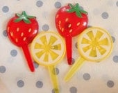 Lemon and Strawberry Cupcake Topper Picks - Set of 18