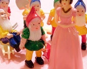 Snow White and the Seven Gnomes - Set of 8 Retro Miniatures for Cupcake Decorating and Crafting