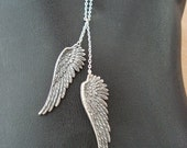 Wing Necklace Silver Wing Necklace Angel Wing Necklace Antique Silver Wings on Long Chain