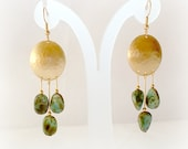 Paloma Drop Earrings with Turquoise and Brass