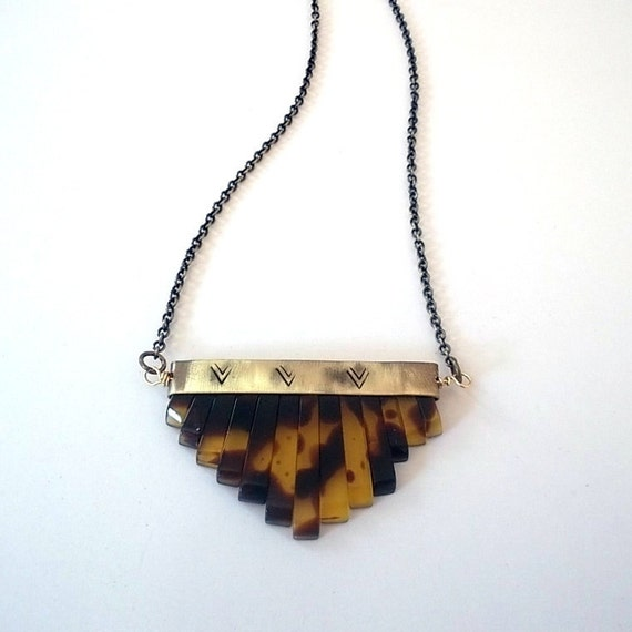 Fan Tasia Necklace - Tortoise shell and Brass Necklace