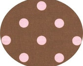 Brown and Pink Polka Dot Home Decorator Weight Cotton Canvas Fabric, 1/2 yard