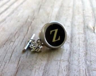 Letter Z  Vintage Typewriter Key Tie Tack