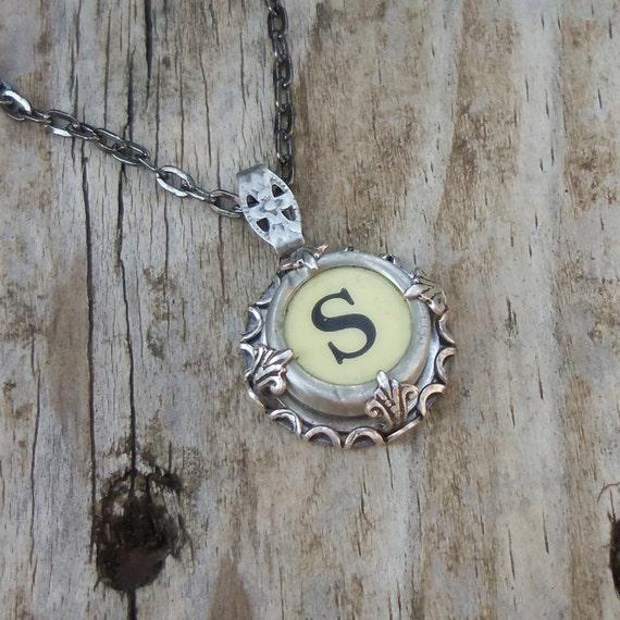 Letter S  Vintage Typewriter Key Wrap Necklace