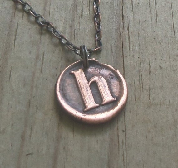 Letter H Initial Necklace In Copper