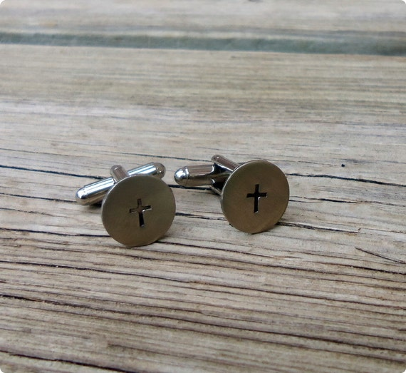 Cross Hand Stamped Cuff Links