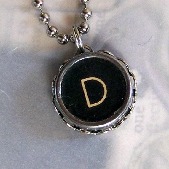 Black Letter D Vintage Typewriter Key Necklace