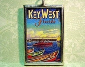 Key West Parrot Double Sided Glass Pendant