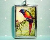 Rainbow Lorikeet Colorful Glass Pendant