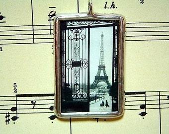 Paris Street Scene Eiffel Tower Glass Pendant