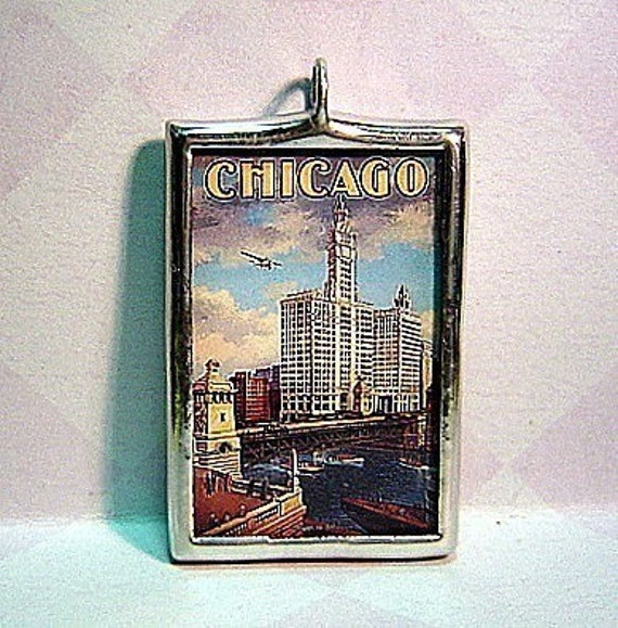 Vintage Chicago Travel Poster Double Sided Glass Pendant