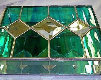 Stained Glass Jewelry Box with Triple Diamond Bevels