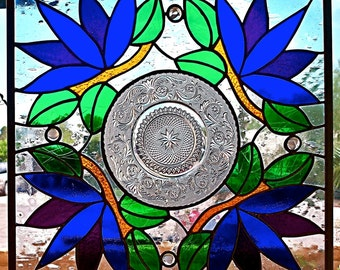Vintage Plate Stained Glass Panel