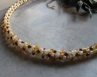 Golden Jade Kumihimo Necklace