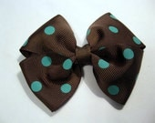 Chocolate and Turquoise dot hairbow