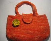 Hand Knit and Felted Purse Orange