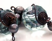 EARRINGS, HANDMADE, PLUCKED FROM THE SEA, STORMY BY KATHERINE COOPER ON ETSY