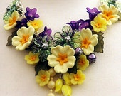NECKLACE  'PRIMROSE'   Yellow, Purple and Green Flower Statement Necklace, Spring Flower Necklace, Vintage Charm Necklace