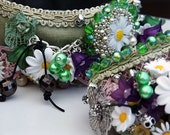 Choker And Cuff Set 'DAISY CHAIN'  Vintage Green Velvets and Lace, Silver Skulls, Vintage Beads and Daisies