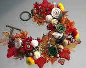 ARTISAN CHARM BRACELET  'The Flames Of Autumn'  A Mori Girl Woodland Forest Bracelet