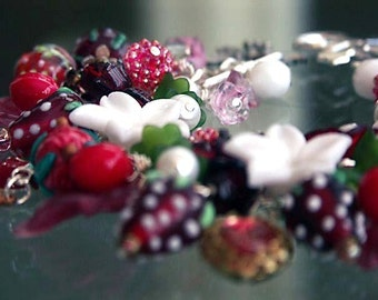 VINTAGE CHARM BRACELET 'Picked From The Wildwood' Wild Strawberry Vines Mori Girl Bracelet An Original Design by Katherine Cooper on Etsy