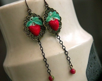 EARRINGS 'WILD STRAWBERRIES'  Handmade Brass and Vintage Celluloid Drop Earrings by Katherine Cooper. London
