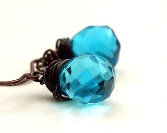 EARRINGS  'SPELLBOUND' Aqua Blue Crystal Earrings Clip On, Gemstone Antique Wire by Katherine Cooper on Etsy
