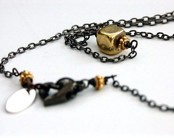 Gold Chain Necklace Gold Cube Necklace Modern Necklace 'MIDAS TOUCH' an original design by Katherine Cooper