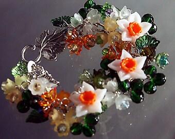 CHARM BRACELET  'NARCISSI' Spring Flower Charm Bracelet Made To Order