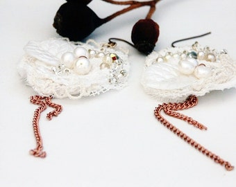 Lace Earrings White Lace Earrings, Vintage Lace and Antique Pearl Earrings, Vintage Copper Chains and crystal 'MISS HAVISHAM'