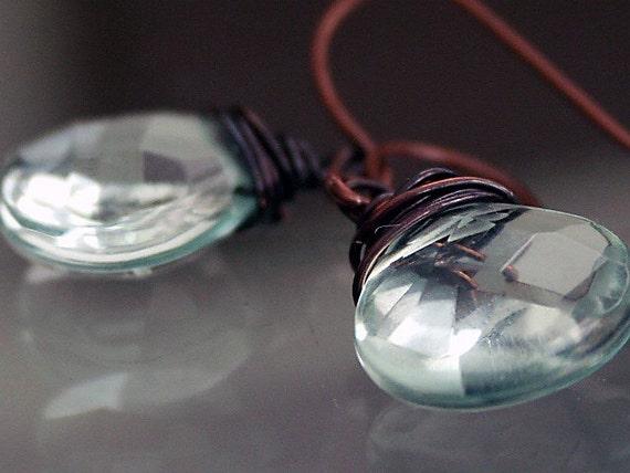 Earrings, wire wrapped earrings 'A Drop In The Ocean'  ocean blue topaz glass, oxidised messy copper wraps