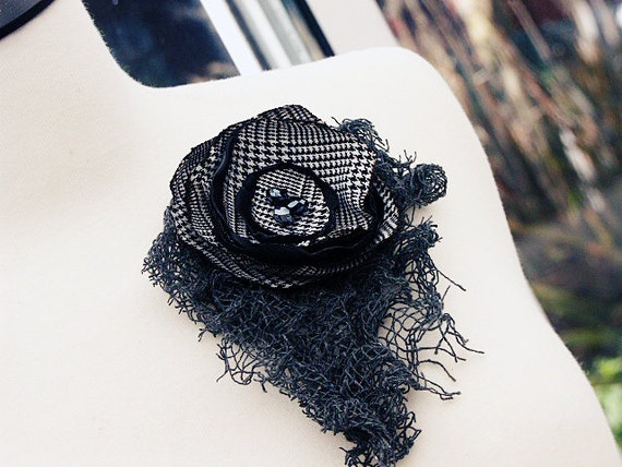 Fabric Flower Brooch Pin 'CORPORATE'  Black and Charcoal Gray  Grey