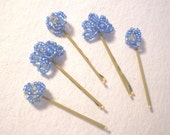 Set of 5 Beaded Hair Pins in Fans and Knots Blue